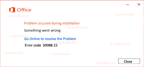 Error Code 30088-22