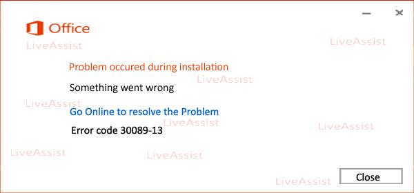 Error code 30089-13