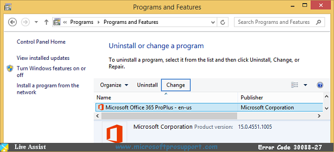 support for office 365 error 30088-27