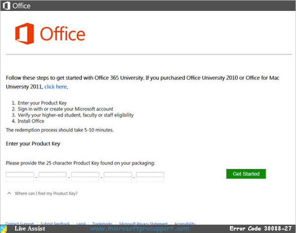 live support for office error code