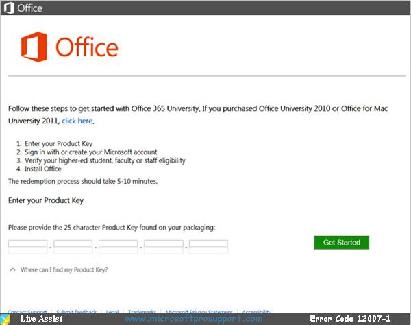office 365 error code 12007-1