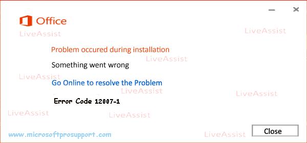 Error Code 12007-1