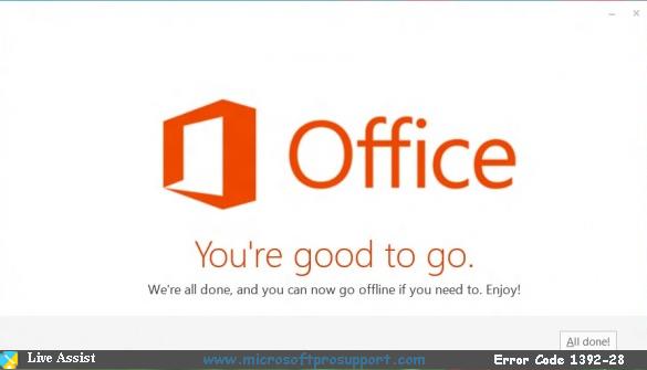 solution for office 365 error 1392-28