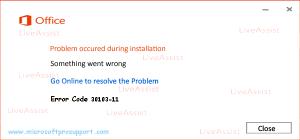 office 2013 error code 30103-11