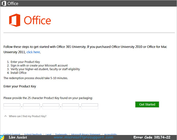 office 365 error code 30174-22
