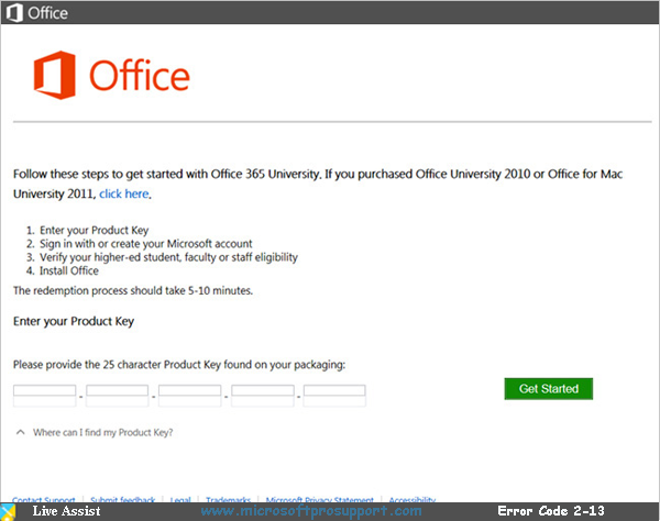 Office 365 Error Code 2-13