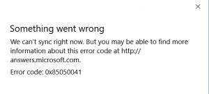 Error Code 0x85050041