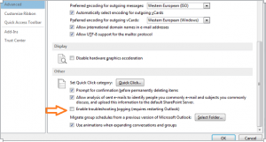 Troubleshooting Outlook logging